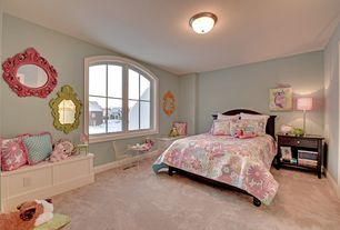 Traditional Kids Bedroom with PB Teen Swirly Paisley Duvet, Hot Pink Victorian Mirror, Vintage Mirror in Bright Orange