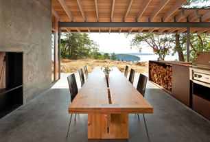 Contemporary Porch with Paint, Covered outdoor seating area, Concrete floors, Screened porch, Outdoor kitchen, Trellis