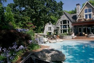 Rustic Swimming Pool with Exterior stone wall, Natural iron railing, Pool, Other Pool Type, Fountain, Pathway, French doors