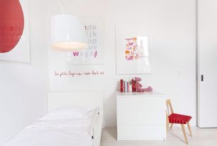Contemporary Kids Bedroom with Hardwood floors, Pendant light, Child's risom chair - knoll, Built-in bookshelf