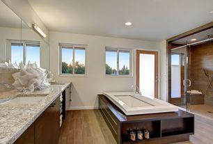 Contemporary Master Bathroom with Handheld showerhead, Flush, Complex granite counters, Master bathroom, frameless showerdoor