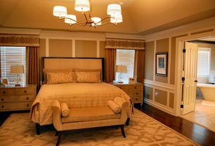 Traditional Master Bedroom with Crown molding, Chandelier, Chair rail, Hardwood floors