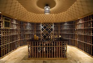 Contemporary Wine Cellar with flush light, High ceiling, Built-in bookshelf, quartz floors, can lights