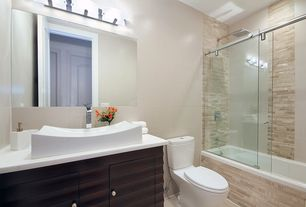 Contemporary Full Bathroom with Vessel sink, European Cabinets, tiled wall showerbath, Corian counters, specialty door, Flush