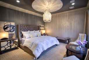 Modern Master Bedroom with Chandelier, Carpet, Crown molding