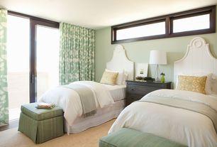 Modern Guest Bedroom with sliding glass door, Standard height, Casement, Hardwood floors