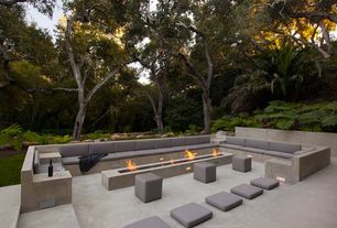 Contemporary Patio with Fence, Pathway, Raised beds, exterior stone floors, Fire pit, exterior tile floors