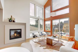 Contemporary Living Room with Balcony, Pendant light, Laminate floors, Cathedral ceiling