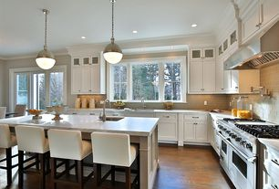 Contemporary Kitchen with Pendant light, Kitchen island, Complex granite counters, flush light, Breakfast bar, L-shaped