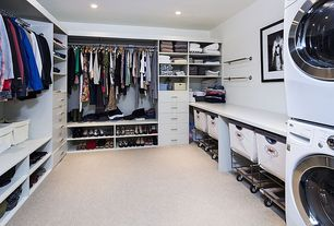 Contemporary Closet with Carpet, can lights, Paint 1, Restoration Hardware - Laundry Cart Rectangle Collection Natural
