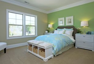 Traditional Kids Bedroom with Carpet, High ceiling, Crown molding