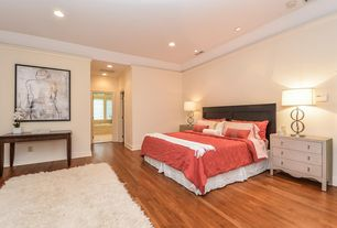Modern Master Bedroom with Casement, Art desk, can lights, Standard height, Hardwood floors, Crown molding