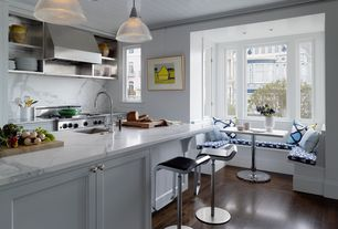 Kitchen with Restoration hardware clemson prismatic single pendant, Lem piston stool with leather seat, Kitchen island, Flush
