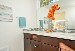 Contemporary Full Bathroom with corian, Solid Surface Countertop Sample in Glacier White, Undermount sink, Ceramic Tile