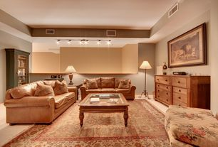 Traditional Living Room with Standard height, Carpet, flush light