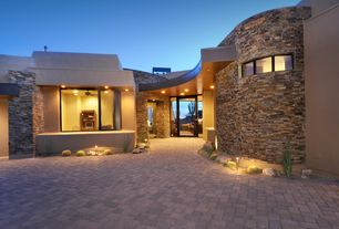 Contemporary Front Door with Emser tile slate, quartzite, & sandstone stacked earth, exterior brick floors, French doors