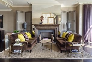 Contemporary Living Room with Fireplace, Built-in bookshelf, Pottery Barn Stark Home Custom Diamond Sisal Rug Platinum