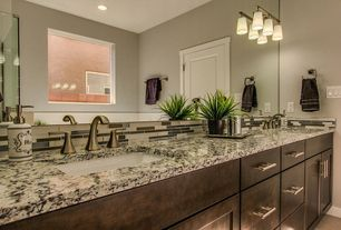 Contemporary Master Bathroom with Complex granite counters, specialty door, Double sink, European Cabinets, Ceramic Tile