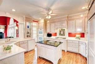 Traditional Kitchen with French doors, Kitchen island, Glass panel, Crown molding, Ceiling fan, Dupont Venaro White Corian