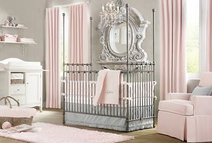 Traditional Kids Bedroom with Paint 1, Standard height, Built-in bookshelf, Bratt decor joy canopy crib pewter, Casement