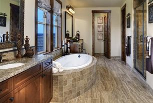Craftsman Master Bathroom with specialty door, Flush, Stone Tile, Simple granite counters, Balcony, Napoli granite