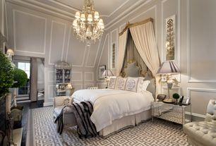 Traditional Master Bedroom with Crown molding, Chandelier, Wainscotting, Hardwood floors, Standard height