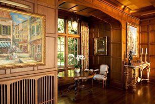 Traditional Living Room with Casement, Standard height, Exposed beam, flush light, Crown molding, Hardwood floors