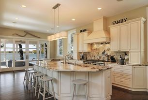 Traditional Kitchen with Breakfast bar, Onyx counters, Polywood Traditional Barstool, French doors, Raised panel, One-wall
