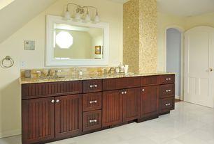 Traditional Master Bathroom with Ms international millenium cream granite, Flat panel cabinets, Stone Tile, Limestone Tile