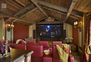 Eclectic Home Theater with Carpet, Wall sconce, Exposed beam, interior wallpaper, High ceiling