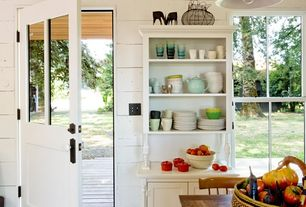 Eclectic Kitchen with Inset cabinets, Breakfast nook, One-wall, Pendant light, Flat panel cabinets, Simple marble counters
