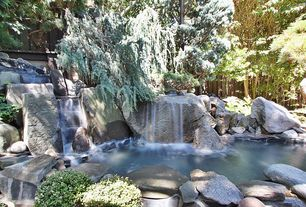 Rustic Landscape/Yard with Fountain, Fence, exterior stone floors, Pond, Private backyard
