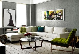 Modern Living Room with Drea Iron Side Table, Built-in bookshelf, Cory Coffee Table, Carpet, interior wallpaper