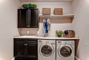 Craftsman Laundry Room with laundry sink, Paint, Built-in bookshelf, drop-in sink, Standard height, Hanging Bar