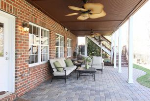 Tropical Porch with Glass panel door, Fence, Gate, exterior stone floors