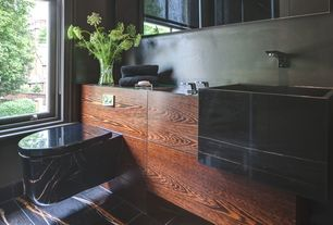 Contemporary Powder Room with Standard height, Black marble floor tiles, stone tile floors, Farmhouse sink, Casement, Paint 1