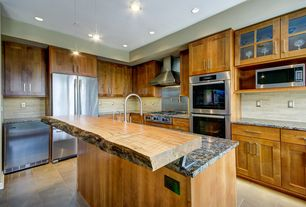 Craftsman Kitchen with Wood counters, Flush, Daltile Santino Chiaro, Pendant light, Ceramic Tile, Flat panel cabinets