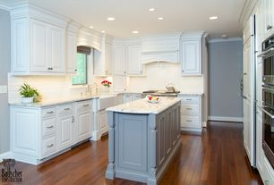 Traditional Kitchen with Subway Tile, Farmhouse sink, Standard height, full backsplash, Built In Panel Ready Refrigerator