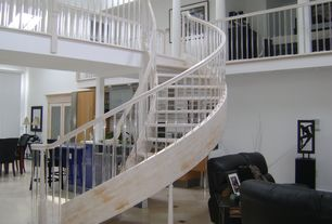 Contemporary Staircase with Cathedral ceiling, Columns, Hardwood floors, Loft