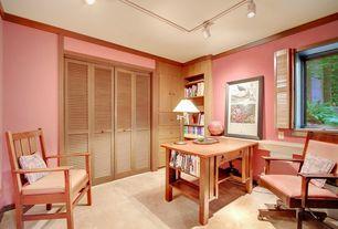 Traditional Home Office with Crown molding, Carpet, Built-in bookshelf, Paint 1, flush light, Standard height, Casement