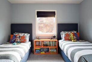 Contemporary Kids Bedroom with double-hung window, Standard height, Carpet, Paint, no bedroom feature