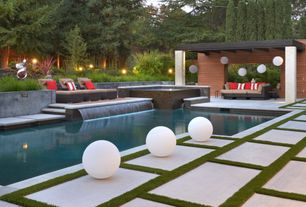 Contemporary Swimming Pool with Fence, Raised beds, Pathway, exterior stone floors, Pool with hot tub