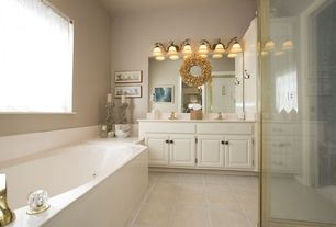 Traditional Master Bathroom with Shower, Paint, Inset cabinets, wall-mounted above mirror bathroom light, stone tile floors
