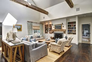 Traditional Living Room with Restoration hardware reclaimed oak parquet coffee table, metal fireplace, double-hung window