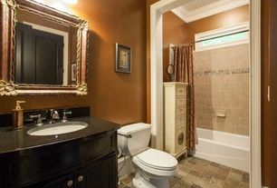 Traditional Full Bathroom with specialty door, partial backsplash, drop in bathtub, Flush, Flat panel cabinets, Soapstone