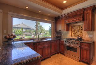 Craftsman Kitchen with U-shaped, Limestone Tile, Stone Tile, Undermount sink, Inset cabinets, Ceramic Tile, Onyx counters