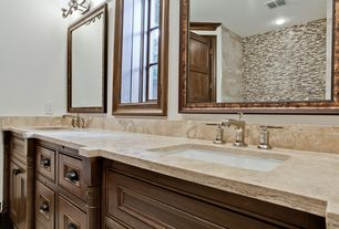 Traditional Master Bathroom with Double sink, Pfister Carnegie Widespread Bathroom Faucet, specialty door, Inset cabinets