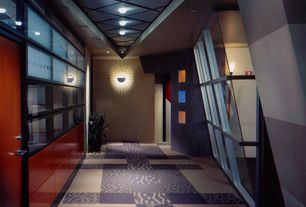 Modern Hallway with High ceiling, Carpet, Wall sconce, Transom window