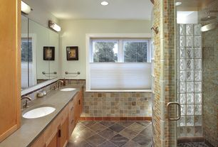 Craftsman Master Bathroom with European Cabinets, Wall Tiles, Double sink, partial backsplash, can lights, Rain shower, Flush