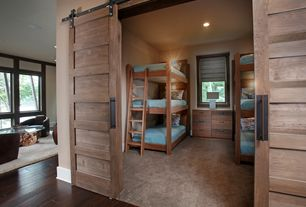 Contemporary Kids Bedroom with Barn door, Etsy Custom Made 5 Panel Sliding Barn Door - Walnut, Carpet, Built-in bookshelf